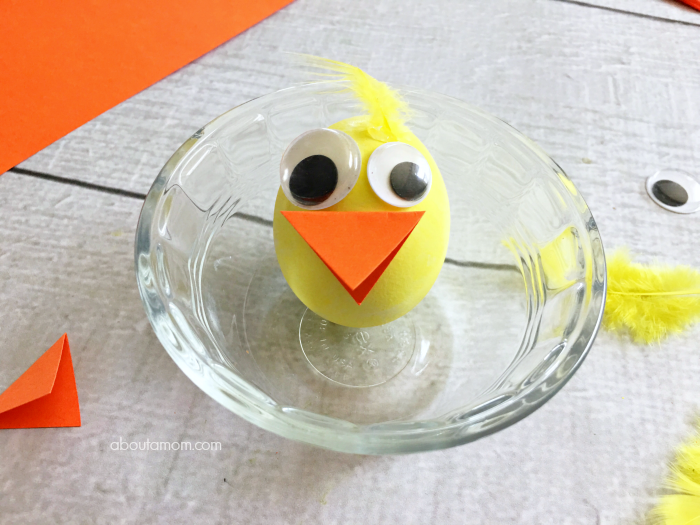 These adorable little Easter Egg Chicks are great fun to make when you are decorating Easter eggs.