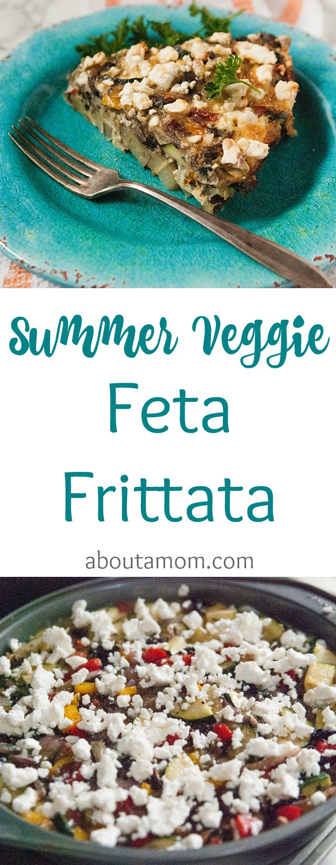 This easy summer vegetable frittata with feta recipe is perfect for breakfast, lunch or dinner. I like to make this in the morning and nosh on it all day long.