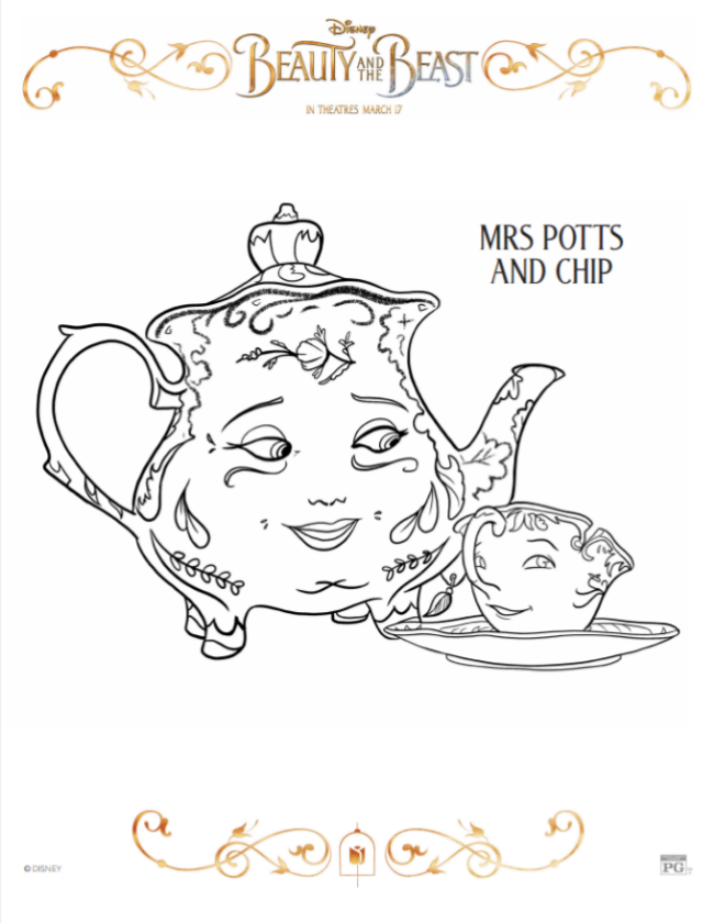 Mrs Potts and Chip Coloring Sheet