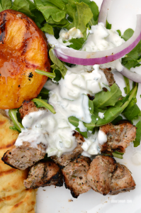 Marinated Grilled Pork Skewers with Peaches and Cucumber Mint Sauce