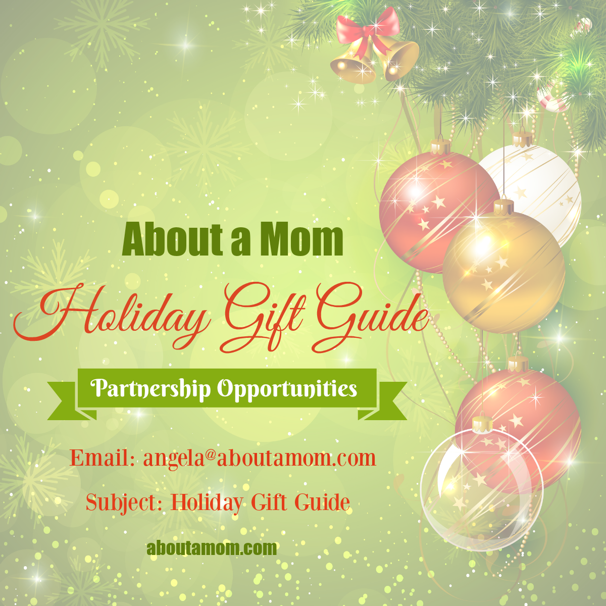 About a Mom Holiday Gift Guide Partnership Opportunities