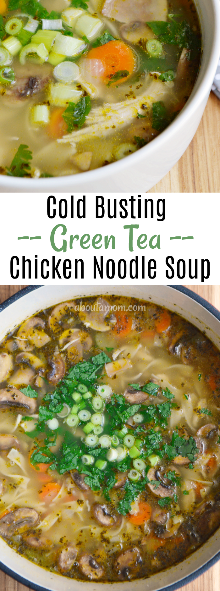 Loaded with antioxidants and nutrients, this cold busting green tea chicken noodle soup with ginger is just what you need if you are feeling under the weather.