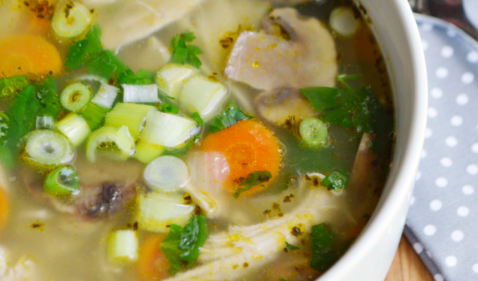 Cold Busting Green Tea Chicken Noodle Soup