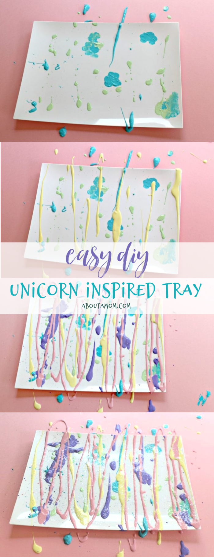 An easy diy unicorn inspired trinket tray. Unicorns are special and beautiful and magical and that is why they caught on as a huge trend in our culture. I wanted to make something themed as unicorns and decided to use the colors and glitter to create a tray that I can put fun and  pretty things on at home. With only a few inexpensive supplies, you can recreate this DIY craft and make one for yourself or as a gift for a friend.
