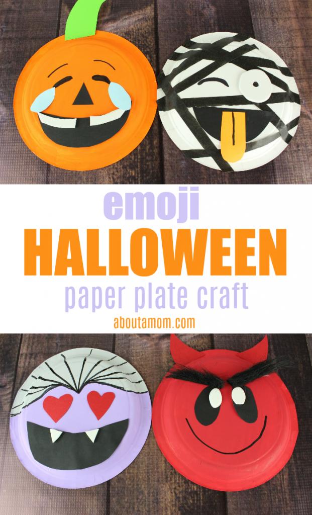 Emoji Halloween Paper Plate Crafts