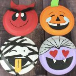 Halloween craft for kids. Instructions for 4 separate emoji Halloween paper plate crafts. Includes a pumpkin, vampire, mummy and devil.