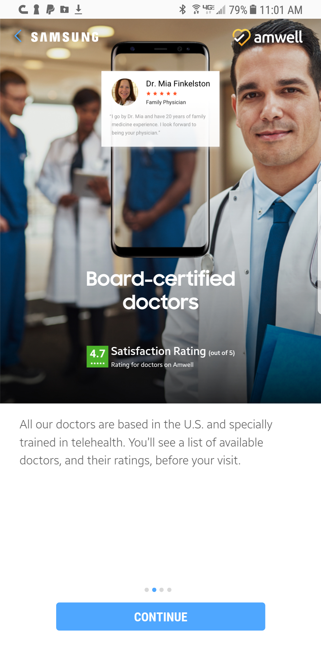 With Samsung Health Ask an Expert you can see a board-certified doctor in just minutes via your Samsung device – no appointments needed.