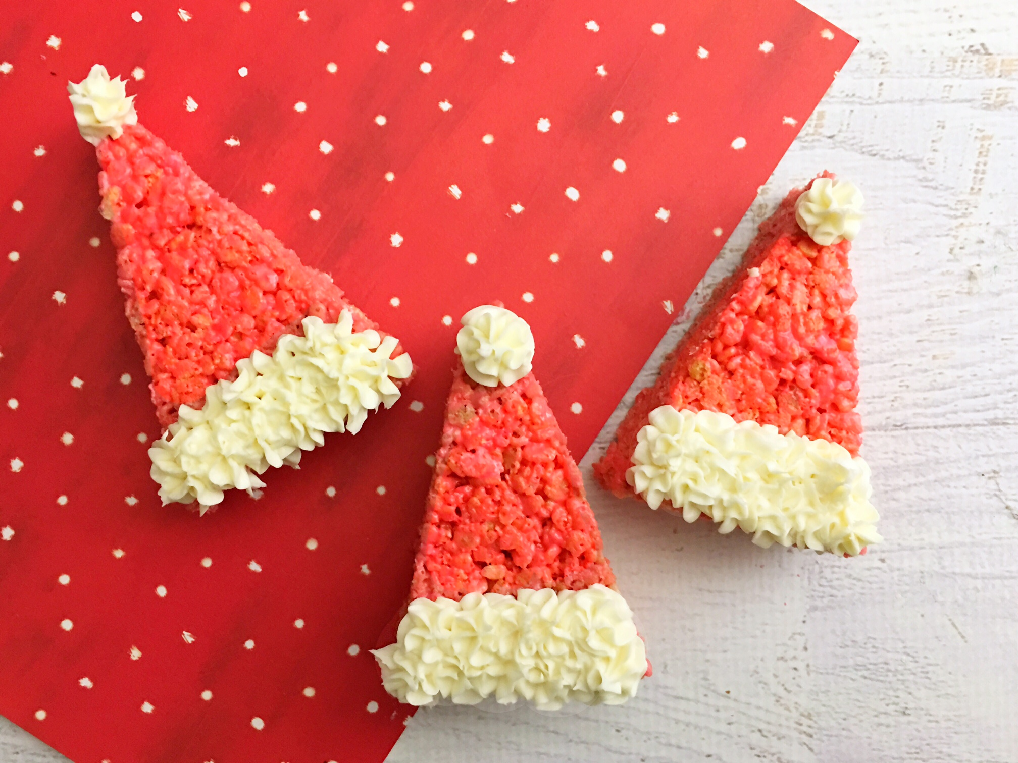 looking for a last minute christmas treat these cute santa hat rice krispie treats are so