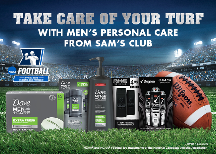 The NCAA football season is in full swing. Help your guy get college game day ready with Uneliver men's personal care products from Sam's Club.