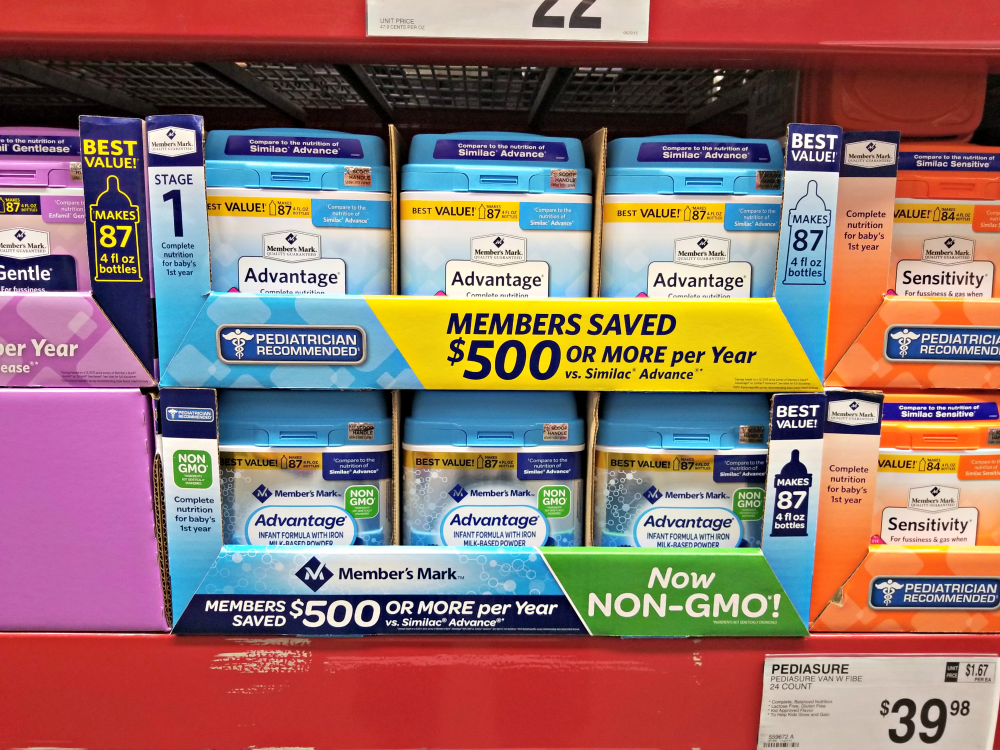 Cutting some of the cost doesn't mean that you are sacrificing quality ingredients. Member's Mark Formula, available at your local Sam's Club, provides the same quality nutrition you expect from national brands, and it also now in non-GMO.