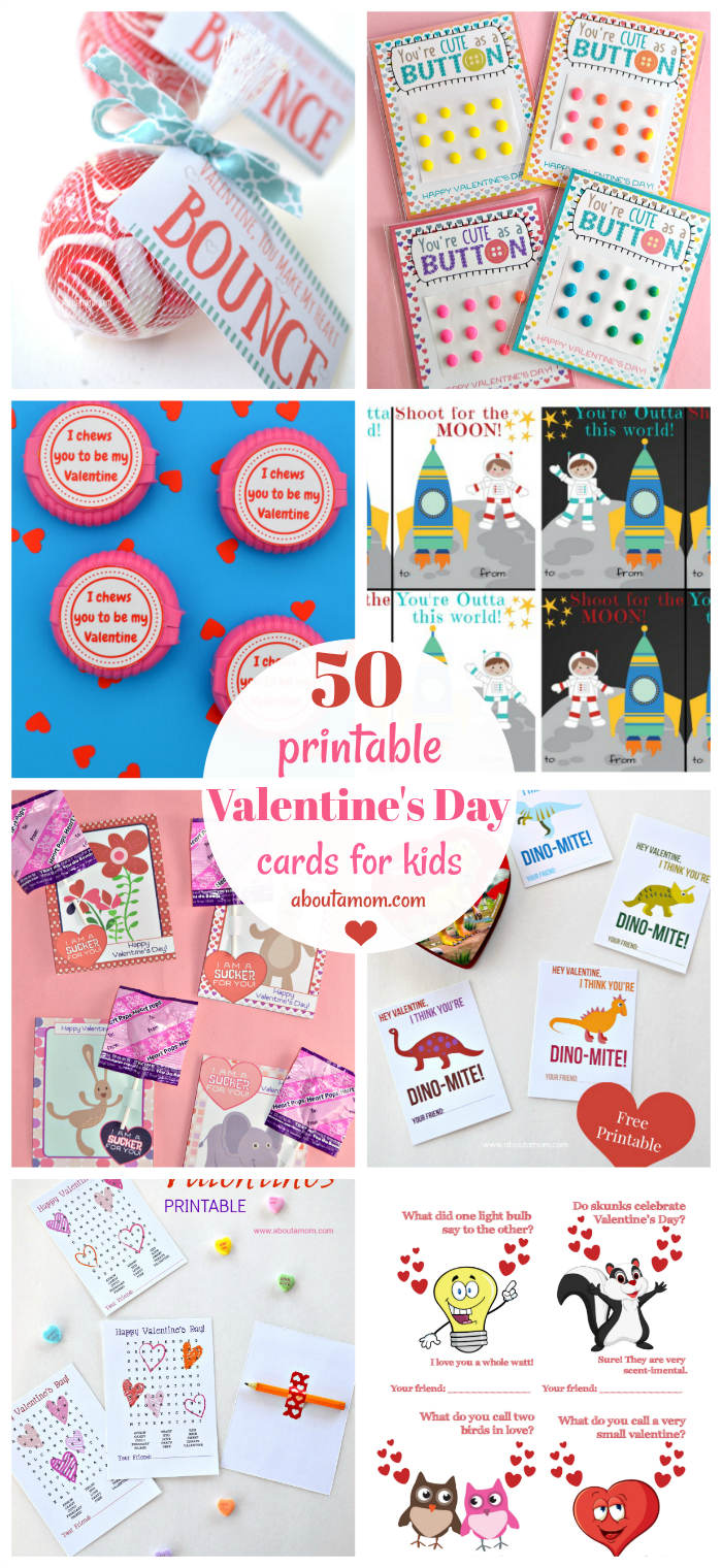 Looking for Printable Valentine's Day Cards? We've rounded up 50 of the best printable Valentines that are perfect for children to handout to classmates.