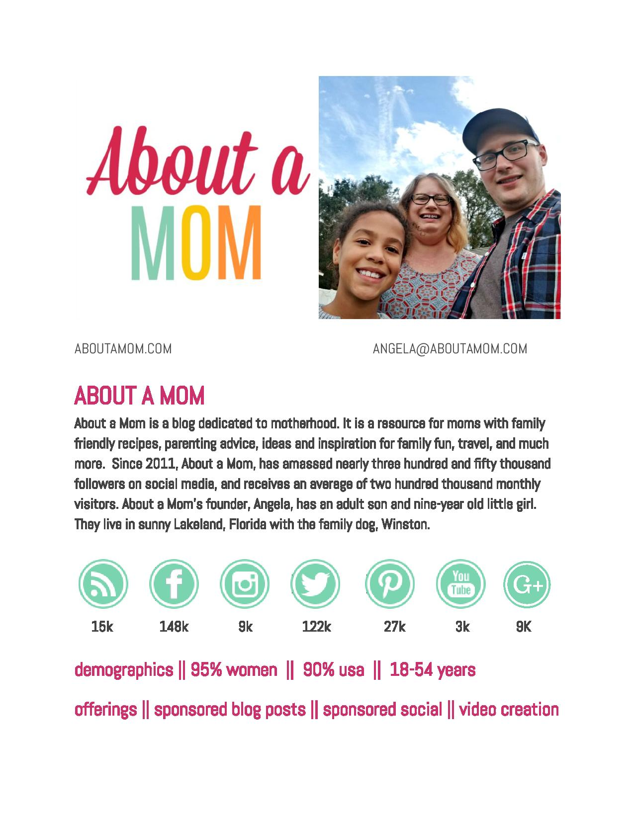 About a Mom Media Kit One Sheet