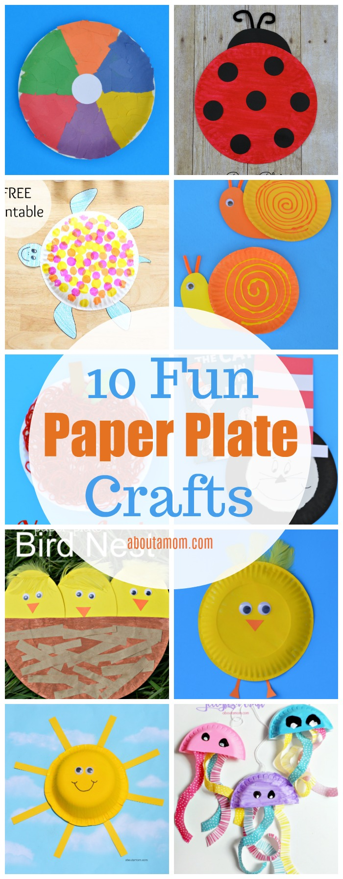 A roundup of 10 simple, inexpensive, and fun paper plate crafts for kids that are great for all seasons. These paper plate projects are perfect for preschool age children and younger elementary school kids.