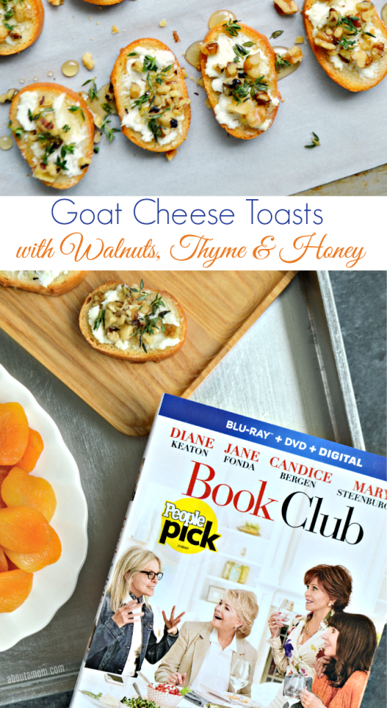 A sweet and savory appetizer that comes together easily. Warm goat cheese toasts topped with chopped walnuts, fresh thyme and a honey drizzle. Paired with a nice bottle of wine, this appetizer recipe is perfect for your next girls night in.
