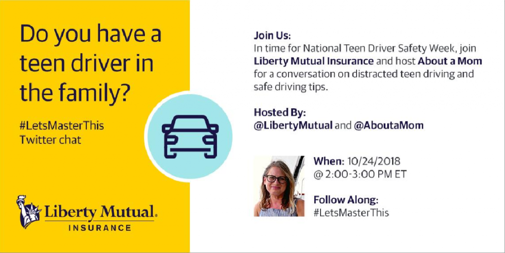 This week is National Teen Driver Safety Week. Do you have a teen driver and need some advice? Be sure to join my #LetsMasterThis Twitter chat with Liberty Mutual on Wednesday, October 24th at 2:00 pm ET.