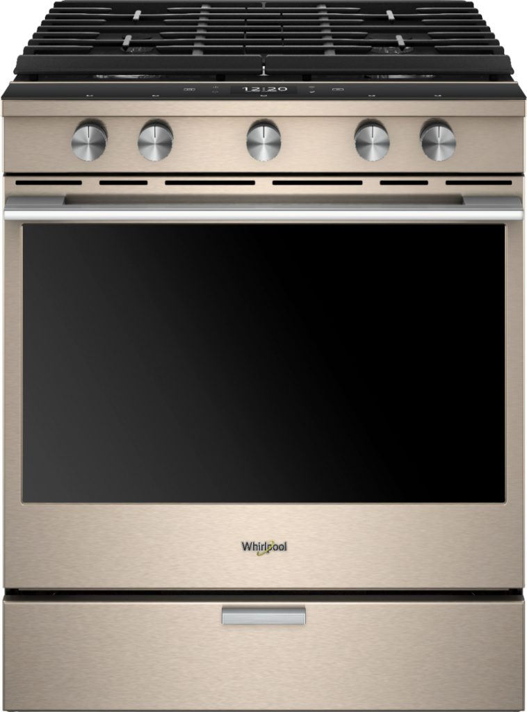 Cook smarter with a Whirlpool Connected Range. The Whirlpool Sunset Bronze Gas Convection Range makes it so you can care for your family right from your smartphone or tablet. Save on Whirlpool smart appliances at Best Buy.
