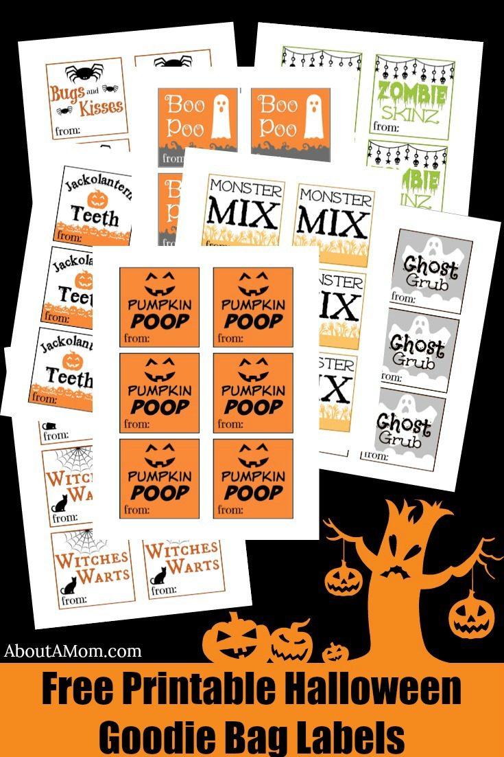 picture about Bugs and Kisses Printable identified as Halloween Goodie Baggage - Totally free Printable - Pertaining to A Mother