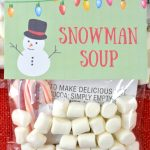 Snowman Soup is a simple homemade Christmas gift idea. With this printable snowman soup tag, you simple place 3 ingredients in the bag and staple the free printable over the bag. Christmas printables like this make holiday gift giving simple and affordable.