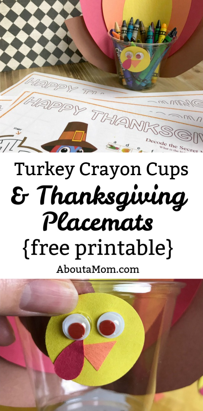 Turkey Crayon Cups with Thanksgiving Placemat Printable