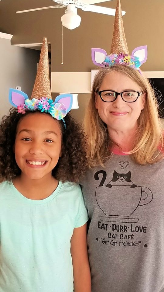 mom and daughter wearing diy unicorn headbands