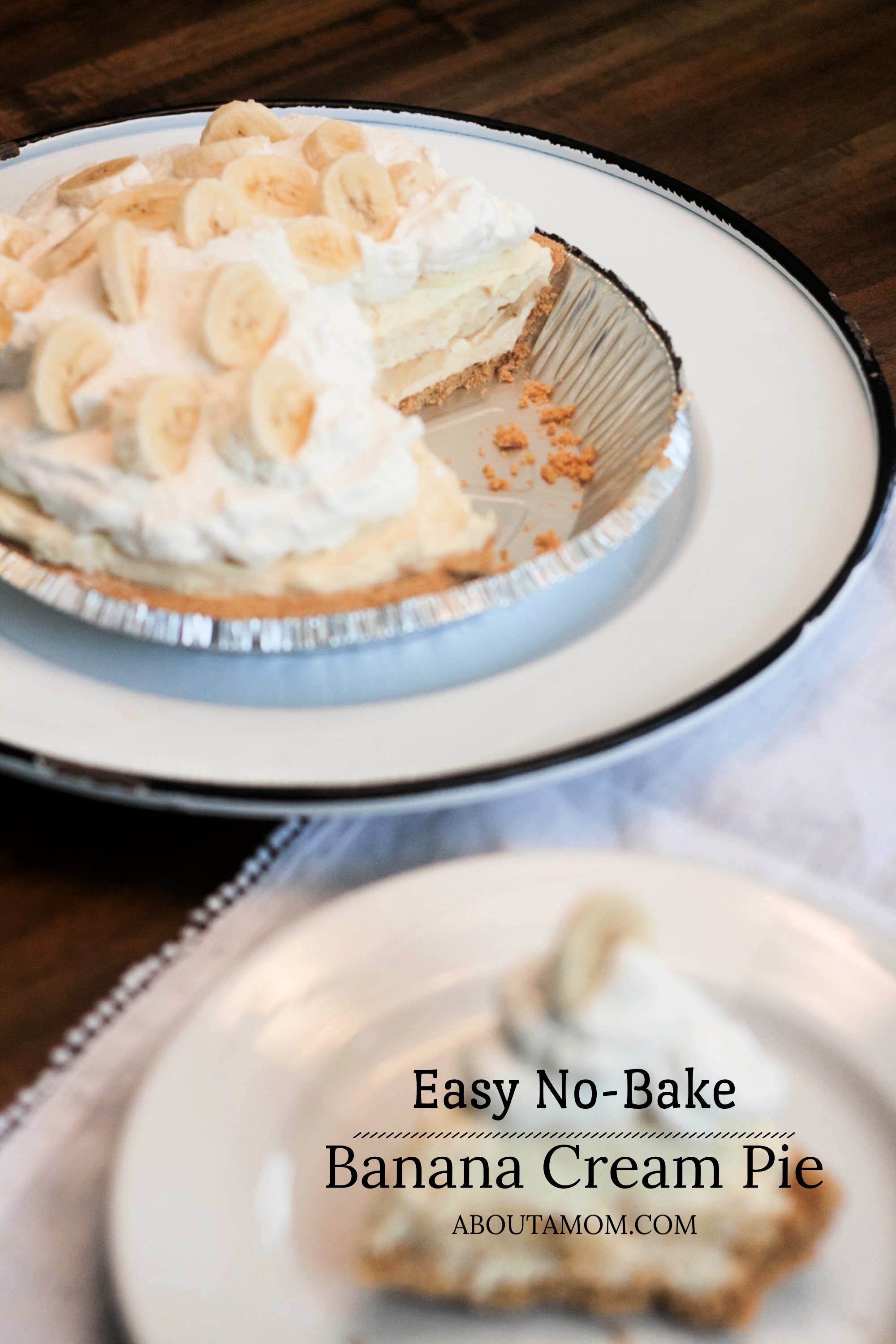 Looking for a banana cream pie recipe? This easy no-bake banana cream pie is perfect for a fast dessert. Whether you need a dessert for a picnic or potluck, dessert for guests or a simple weeknight dessert, this pie is the perfect choice.