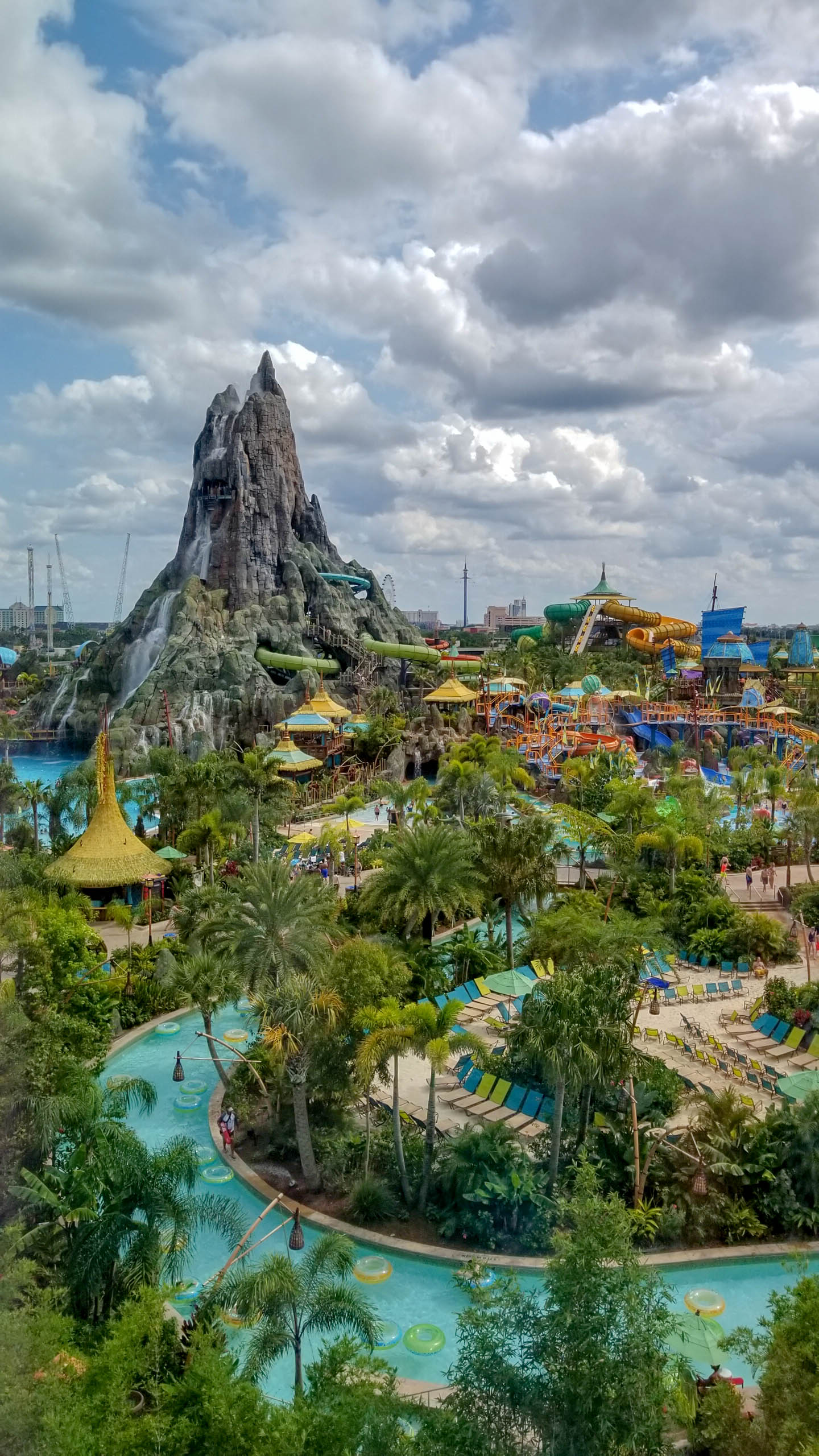 View of Volcano Bay water park from Universal Cabana Bay Beach Resort
