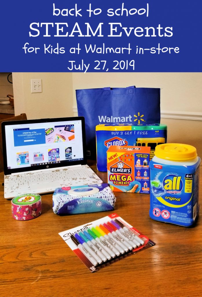 Free STEAM events at Walmart for kids. Visit Walmart on July 27, 2019 for a free in-store STEAM event. Kickstart back to school shopping and have fun while learning about science, Technology, Engineering, Arts, and Mathematics.