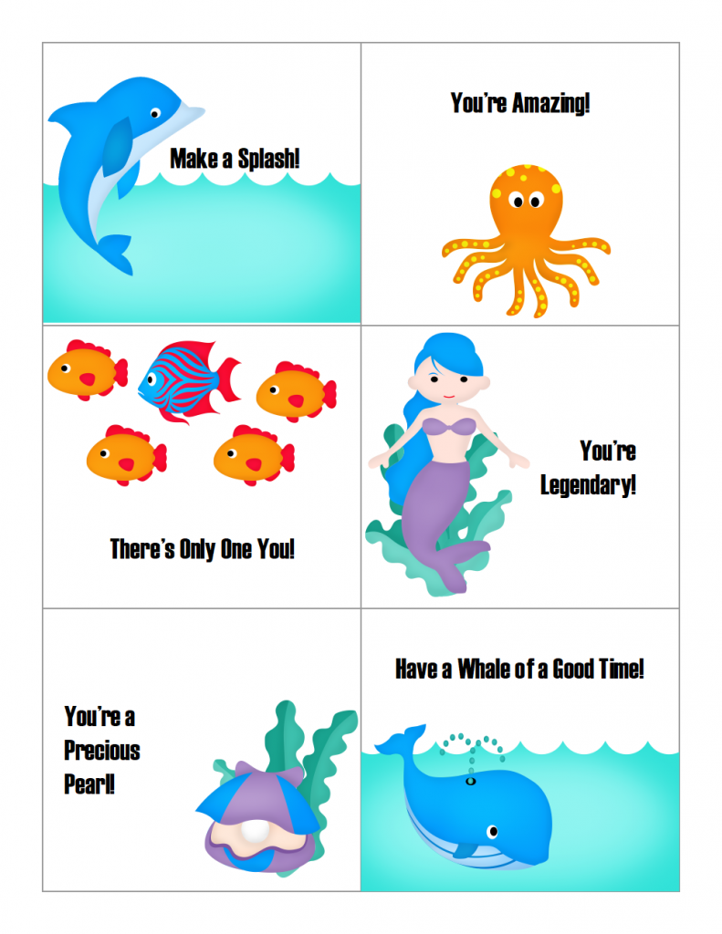Free Printable Lunchbox Notes - Under the Sea Theme