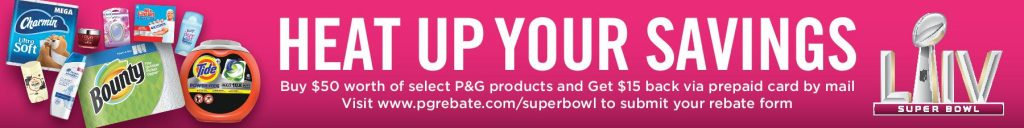 Stock up and save with this P&G rebate offer. P&G $15 Rebate Details: Spend $50 on select P&G Products, fill out the P&G rebate form online and submit a copy of your receipt. Offer valid for products purchased 1/26/20 - 2/9/20.