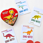 "These free printable Dinosaur Valentines are gender neutral and perfect for classmates. Download and print these free printable Valentine's Day cards. This dinosaur valentine is sure to bring a smile to children of all ages. The printable Valentine cards say ""Hey Valentine, I think you're Dino-Mite!"" and include a place for your child to sign their name."