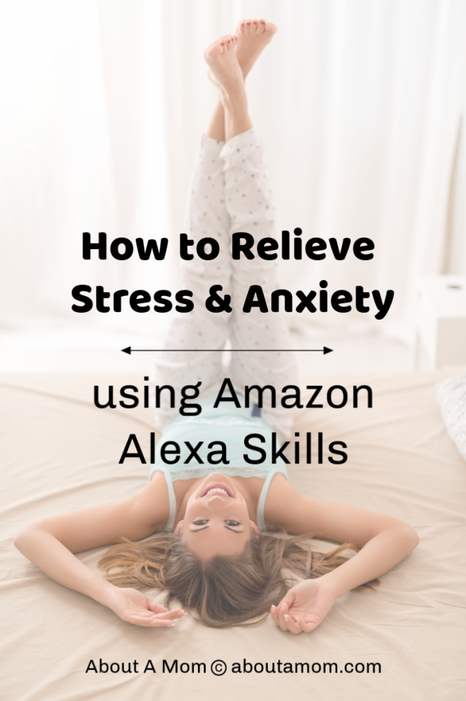 Woman laying on bed relaxed after learning how to relieve stress and anxiety using Amazon Alexa Skills.