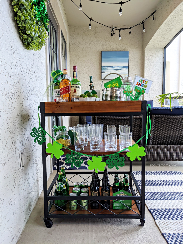How to style a bar cart for St. Patrick's Day.