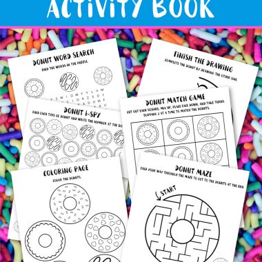 This free Donut Printable Activty Book has 6 fun donut-themed pages that includes an iSpy game, word search, coloring page, match game, donut maze, and finish the donut drawing activity. You can download and print them all or just one page. Download links are at the bottom of this page.