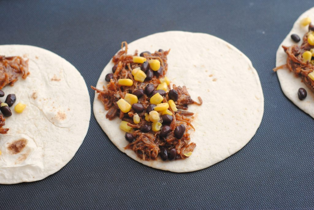 corn and black beans over the pork