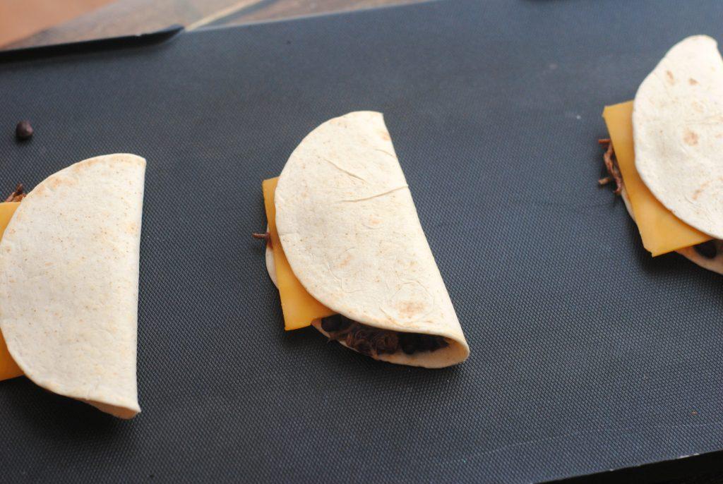fold the tortilla over