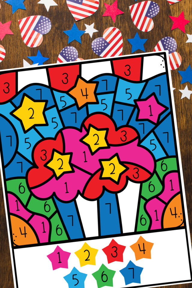 Free 4th of July Color by Number Preschool Printable