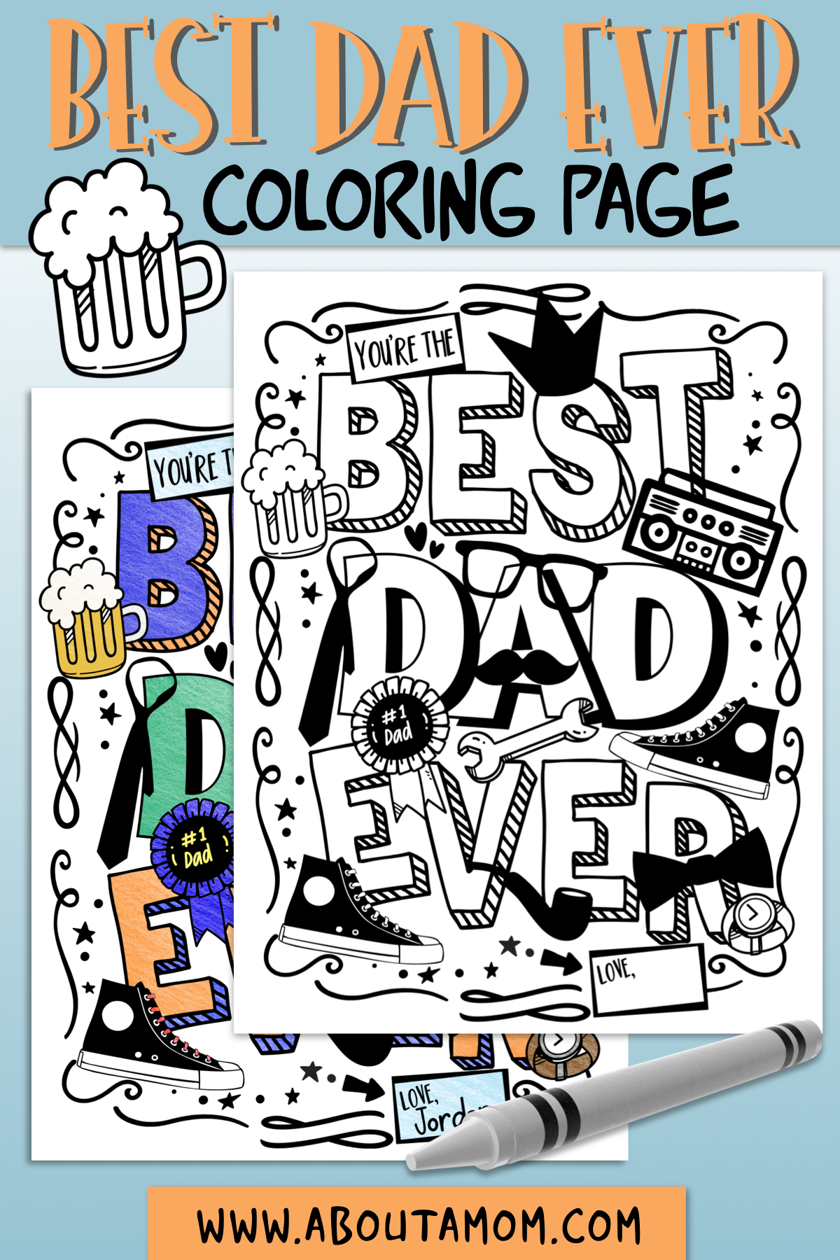 Want to let dad know you think he is the best? Download this Father's Day Coloring Page, print the page, and have the kids color it. This is a fun and simple Father's Day gift idea.