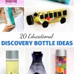 Discovery bottles are fun to make and a terrific boredom buster toy. Here are 20 different ideas for simple Educational Discovery Bottle Ideas so you can make sensory bottles to keep kids engaged all year long. Use these to create exciting and intriguing sensory play experiences for children.