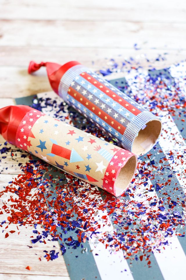 Make your own 4th of July Confetti Poppers.  Simple and fun for all ages, these DIY confetti poppers are inexpensive to make. With a few supplies, you can have fun making your own patriotic party favors.