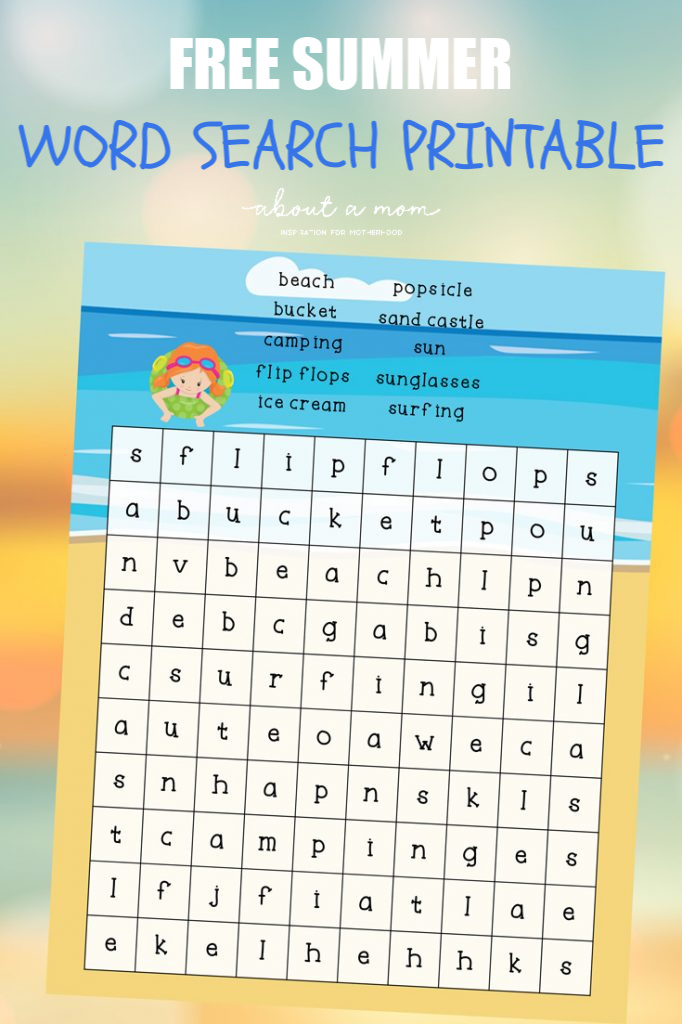 Free Summer Word Search for Kids Printable