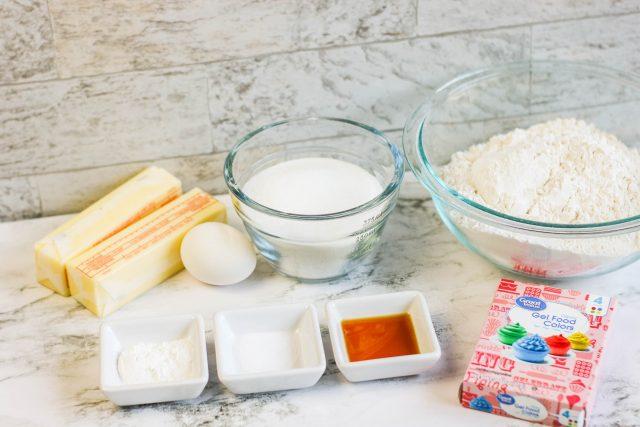 Rainbow Swirl Cookies ingredients