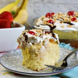 Banana Split Poke Cake is all the delicious flavors of a banana split in an easy-to-make sheet cake.