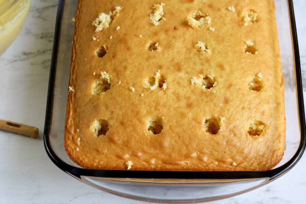 poking holes in cake
