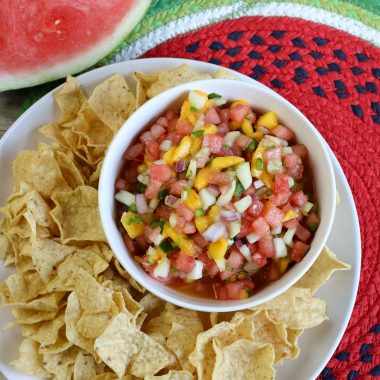 If you love watermelon, you are going to love this Homemade Watermelon Salsa recipe. It is sweet and spicy, tangy, and refreshing.