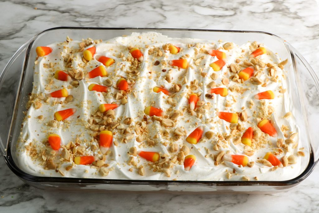 cake with candy corn on top