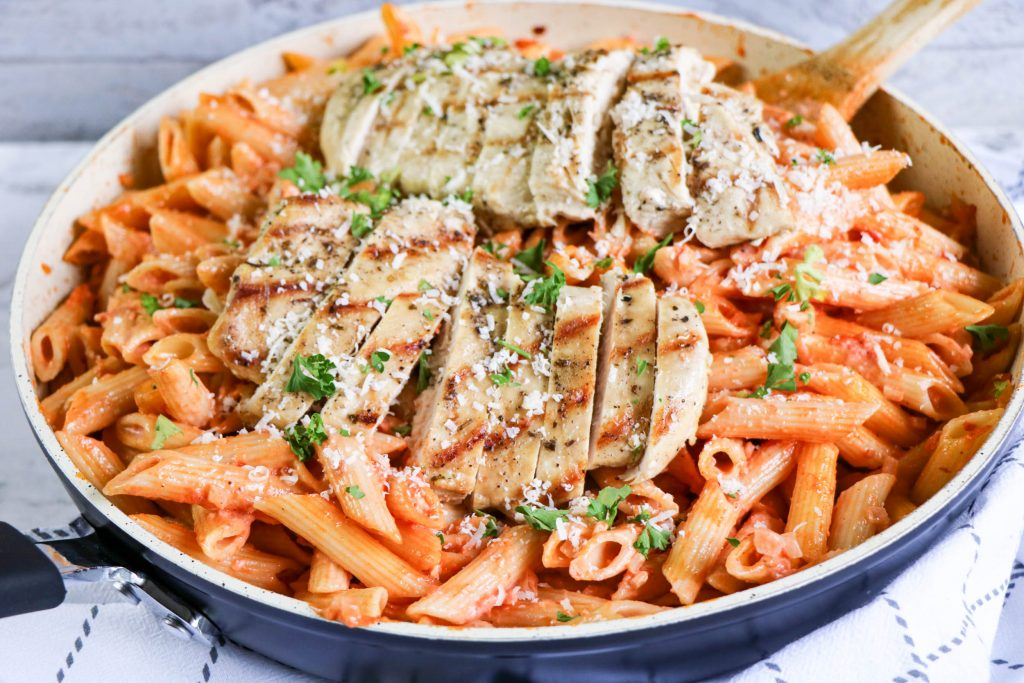 penne alla vodka with chicken on top