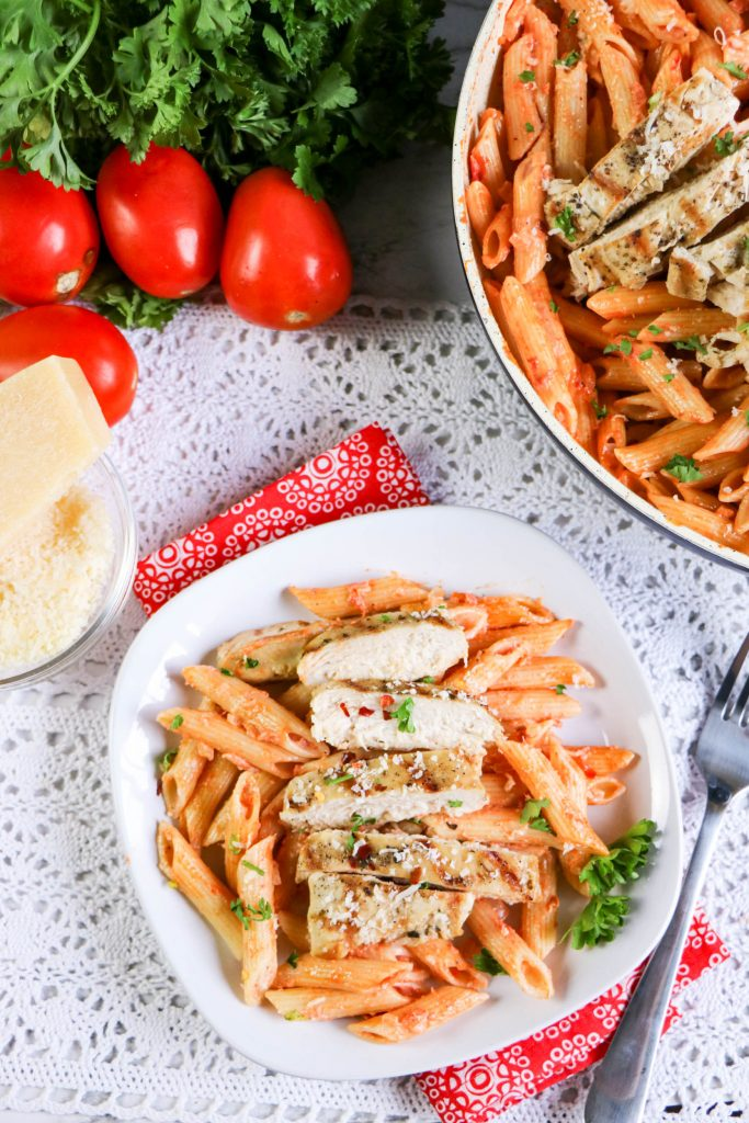 This delicious and tender Penne alla Vodka with Grilled Chicken is a wonderful Italian-American pasta dish that can be made as a simple weeknight dinner or served as a special occasion meal. The sauce is creamy but bright and loaded with flavor.
