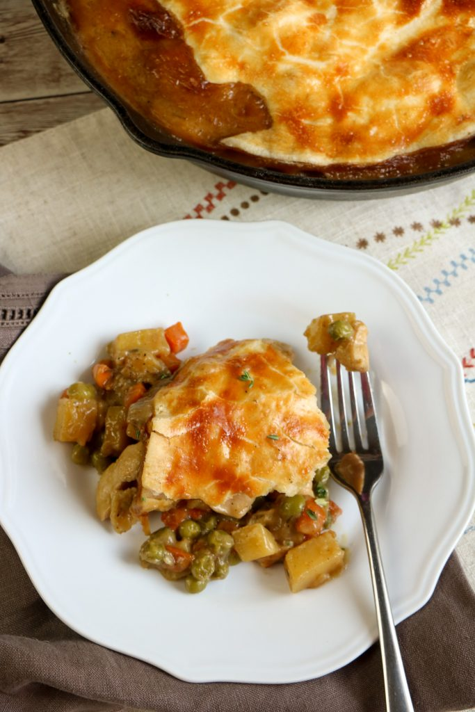This savory, comforting and easy-to-make skillet chicken pot pie recipe is the perfect weeknight dinner.