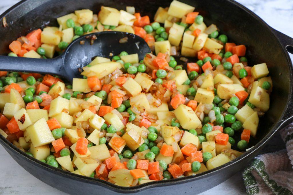 added vegetables to the skillet