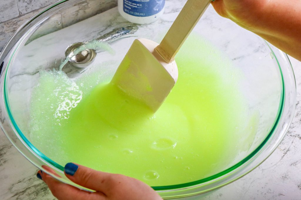mixing the slime